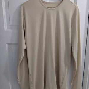 Men's Esntls Sand Long Sleeve Shirt Staggered Sz M